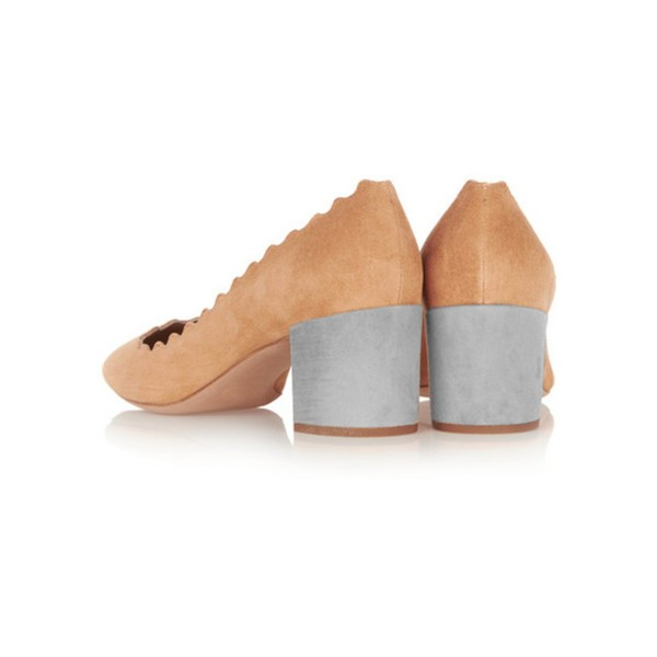Women's Tan Commuting Chunky Heels Pumps Shoes image 3
