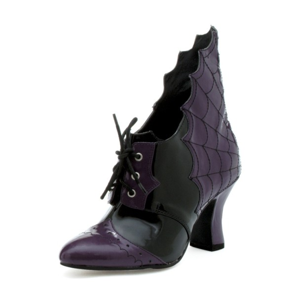 Dark Witch Purple Lace up Boots Spool Heel Halloween Shoes image 2