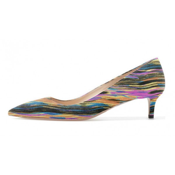 Multi-color Dress Shoes Kitten Heels Colorful Stripes Pointy Toe Pumps image 2