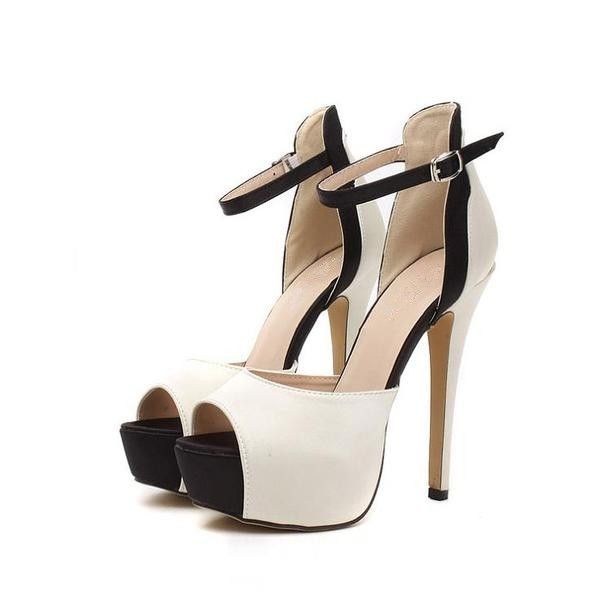 Women's White Platform Heels Buckle Ankle Strap High Heel Shoes Pumps  image 4