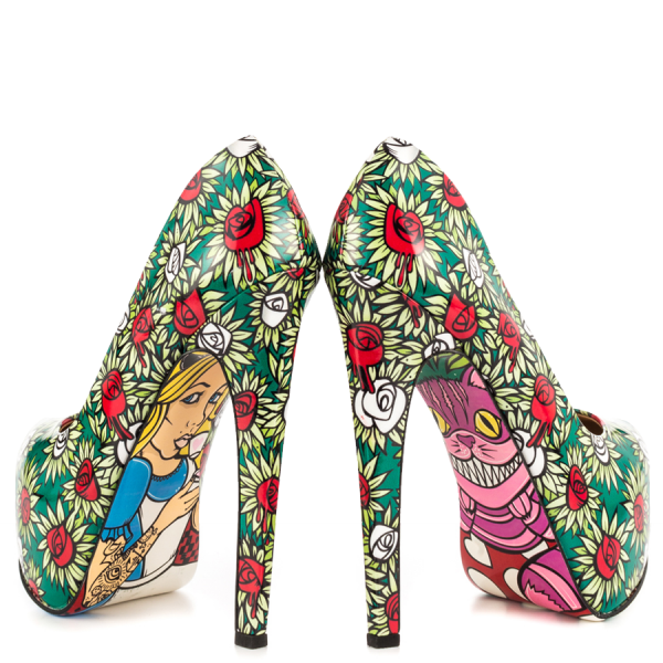 Alice in Wonderland Floral Heels Platform Pumps for Halloween image 1