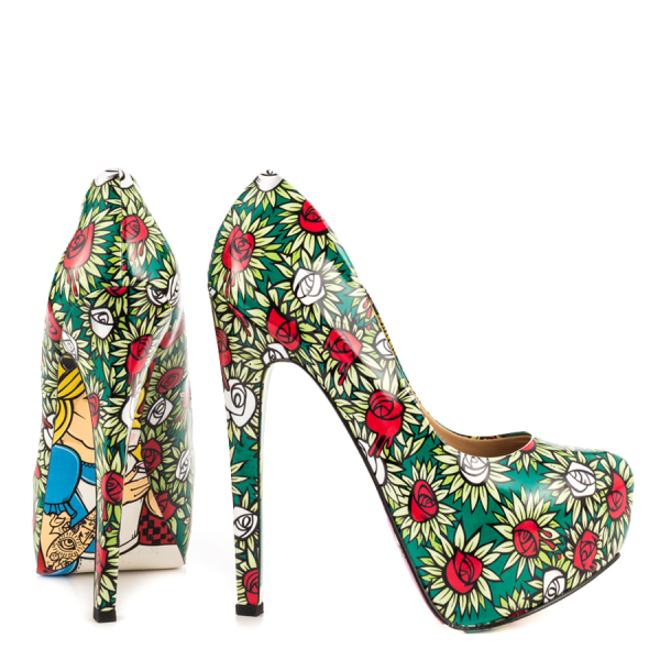 Alice in Wonderland Floral Heels Platform Pumps for Halloween image 3