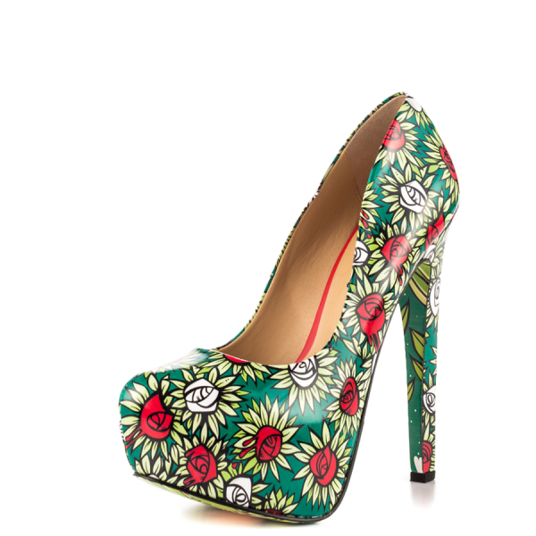 Alice in Wonderland Floral Heels Platform Pumps for Halloween image 4