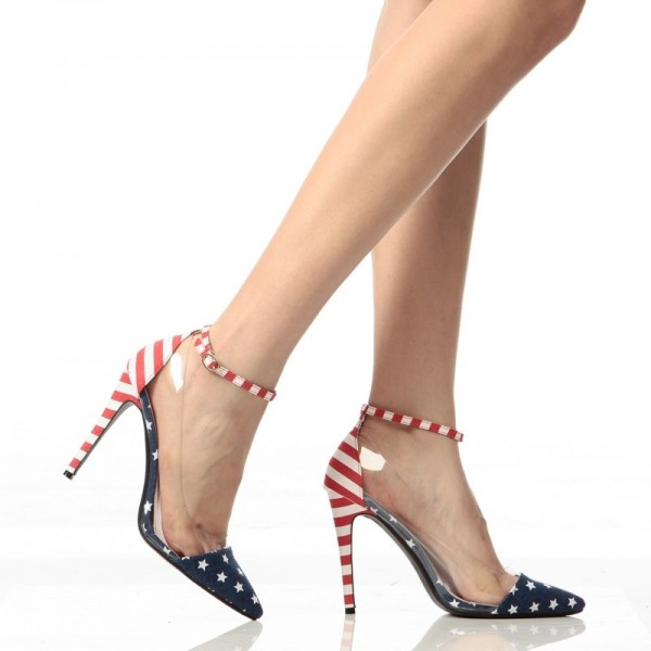 Women's Star and Stripes Ankle Strap Sandals Clear Stiletto Heel Pumps image 6