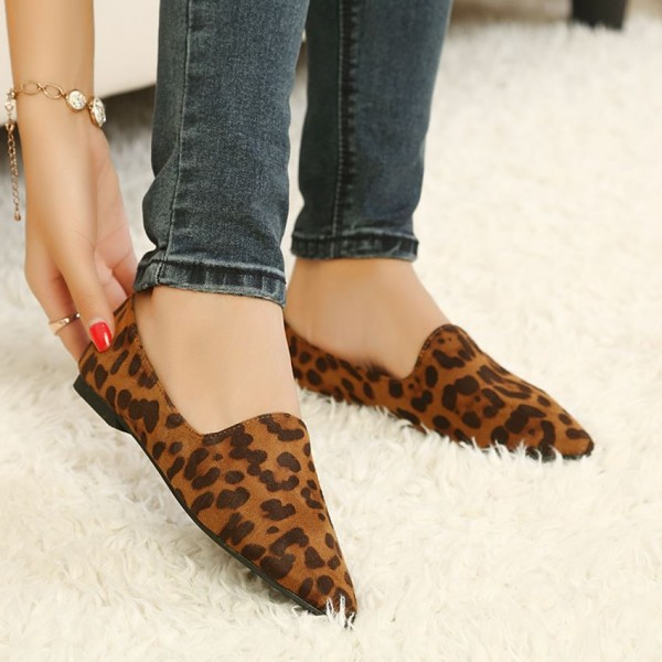 Leopard Print Flats Brown Slip-on Comfortable Shoes image 2
