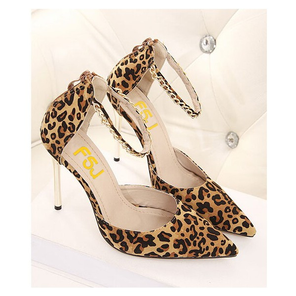 Leopard Print Heels Suede Stiletto Heel Closed Toe Sandals image 4