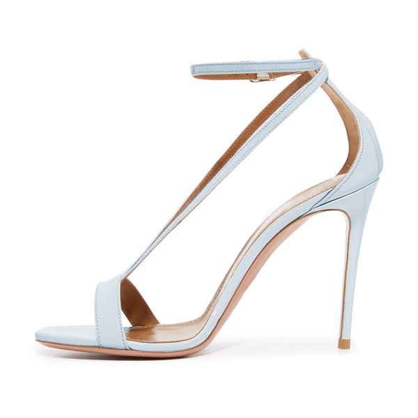 Women's Light Blue Ankle Strap Sandals Stiletto Heels image 2