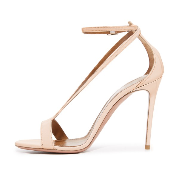 FSJ Nude T Strap Sandals Patent Leather Stiletto Heel Offcie Shoes image 2