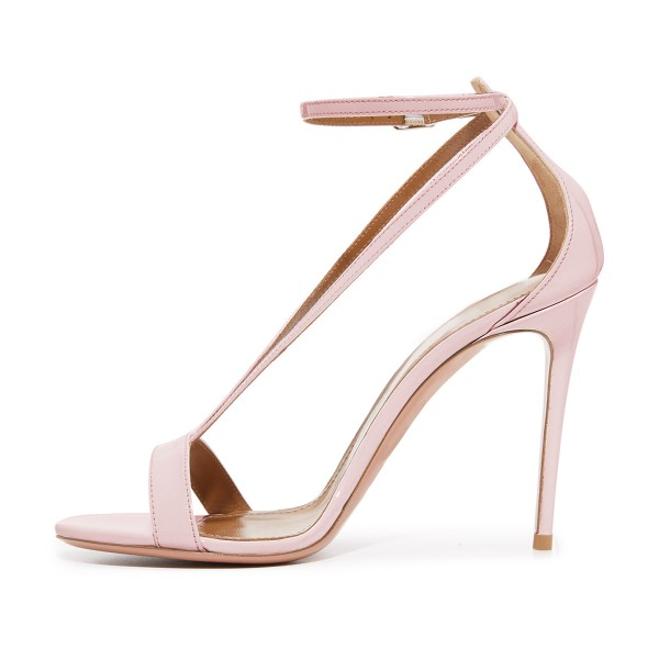 FSJ Pink T Strap Sandals Patent Leather Stiletto Heel Offcie Shoes image 2