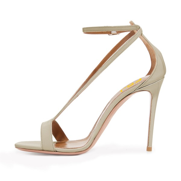 Women's Champagne Stiletto Heel Ankle Strap Sandals image 1