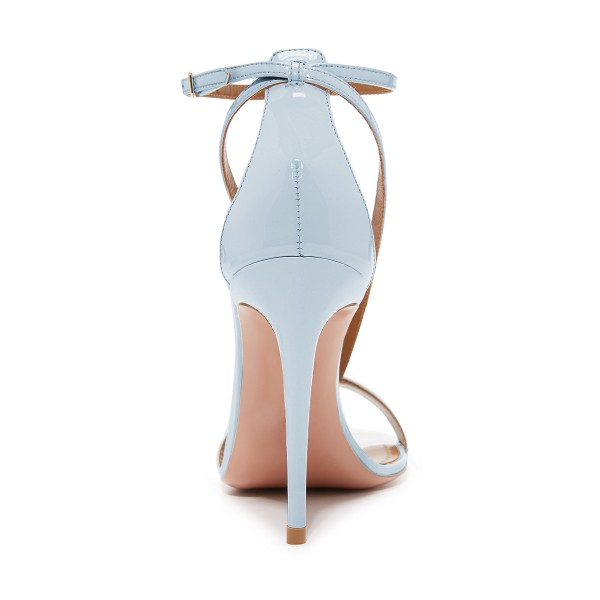Women's Light Blue Ankle Strap Sandals Stiletto Heels image 4