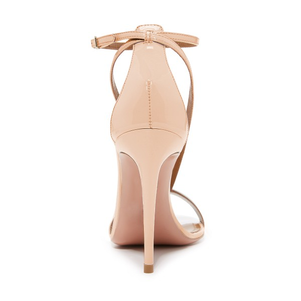 FSJ Nude T Strap Sandals Patent Leather Stiletto Heel Offcie Shoes image 4