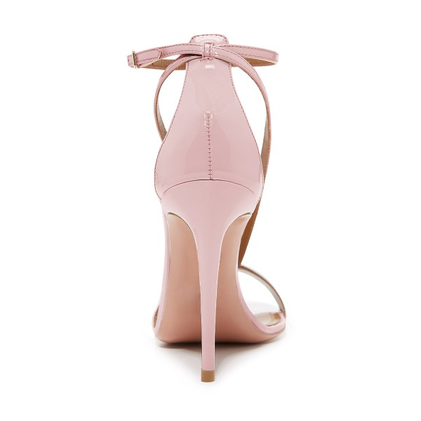 FSJ Pink T Strap Sandals Patent Leather Stiletto Heel Offcie Shoes image 4