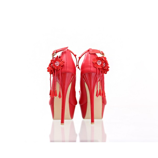 Red Evening Shoes Floral Ankle Strap Stiletto Heel Platform Pumps image 3