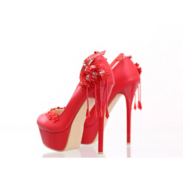 Red Evening Shoes Floral Ankle Strap Stiletto Heel Platform Pumps image 2