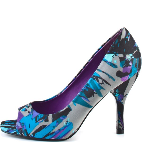 Ariel Blue Peep Toe Heels Stiletto Heels Pumps for Halloween image 3