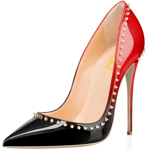 Black and Red 5 inches Stiletto Heels Gold Rivets Office Heels Pumps image 1