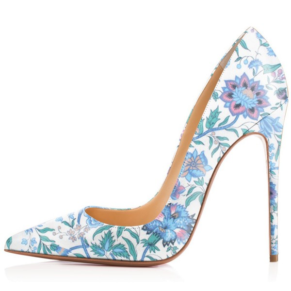 Light Blue Floral Heels Pointy Toe Stiletto Heels Pumps by FSJ image 2