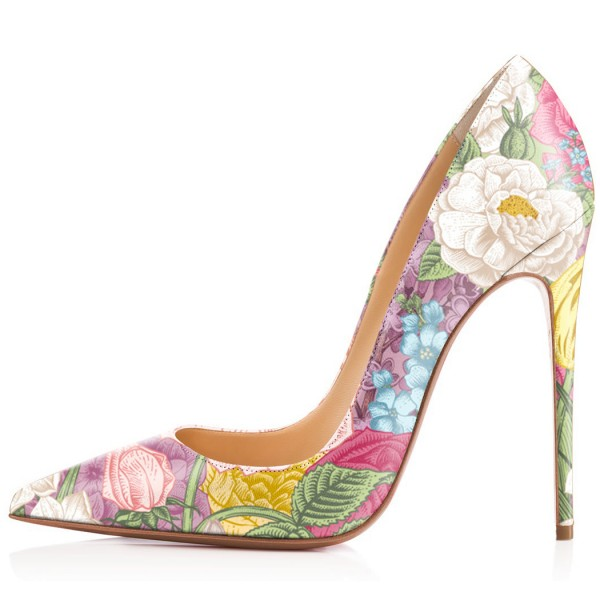 Women's Romance Style Spring Floral Printed Pencil Heel Pumps image 2