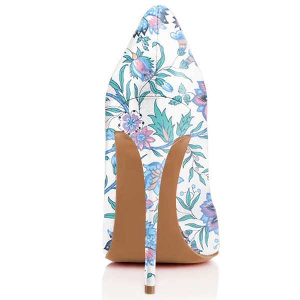 Light Blue Floral Heels Pointy Toe Stiletto Heels Pumps image 3