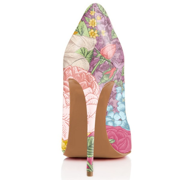 Women's Romance Style Spring Floral Printed Pencil Heel Pumps image 3