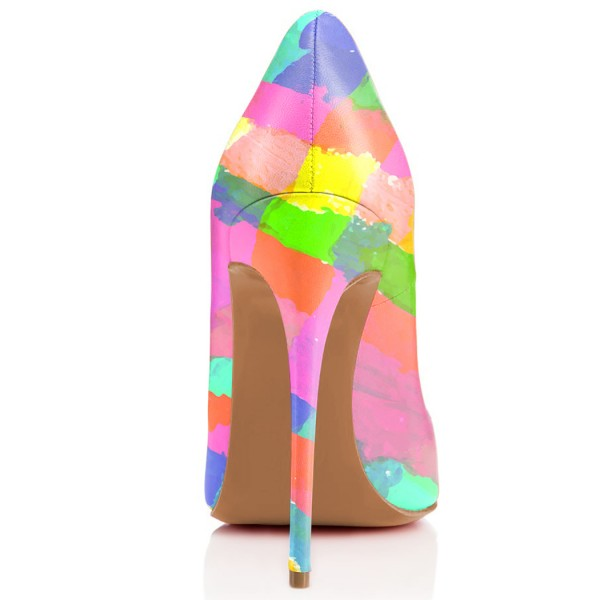 Multicolored Rainbow Stiletto Heels Pointed Toe Pumps image 3