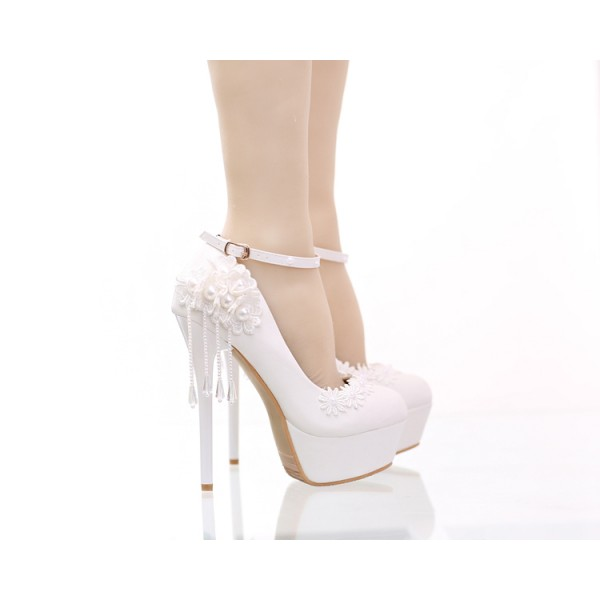 Women's White Floral Pearl Ankle Strap Stiletto Heel Wedding Shoes image 3