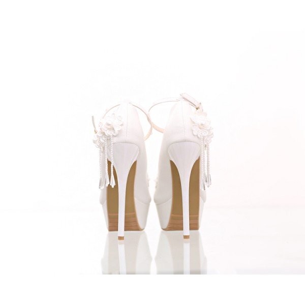 Women's White Floral Pearl Ankle Strap Stiletto Heel Wedding Shoes image 2