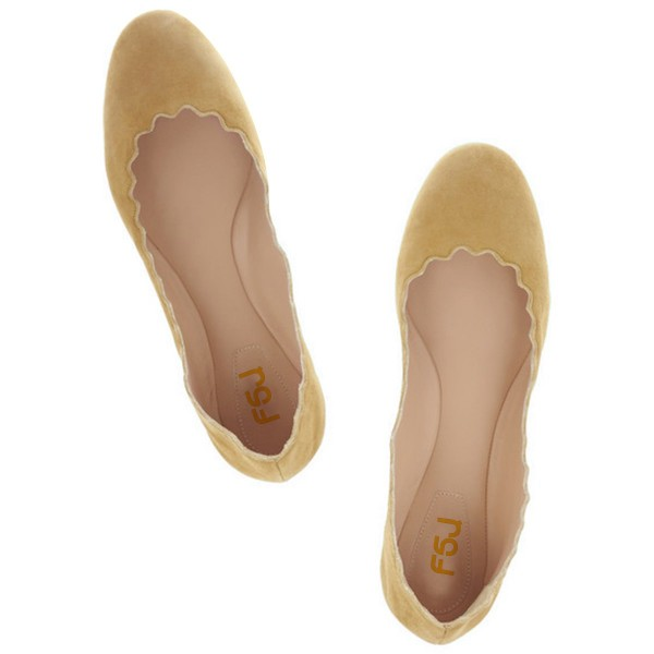 On Sale Mustard Suede School Shoes Round Toe Comfortable Flats image 3