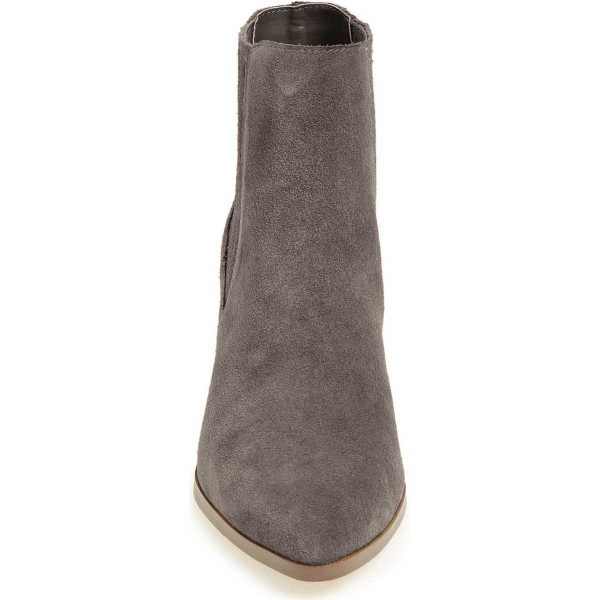 Dark Grey Suede Slip on Boots Pointy Toe Block Heel Vintage Boots image 3