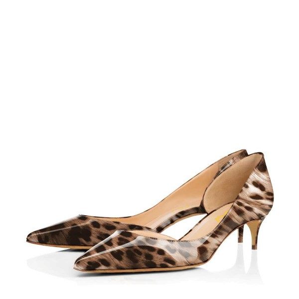 Animal Print Kitten Heels Pointy Toe D'orsay Pumps image 1