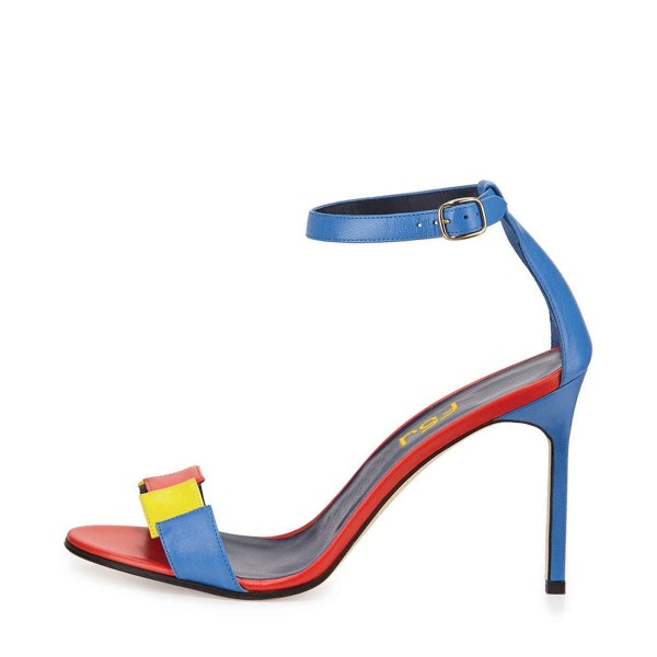 Esther Blue Colorful Open Toe Stiletto Heels Ankle Strap Sandals image 2