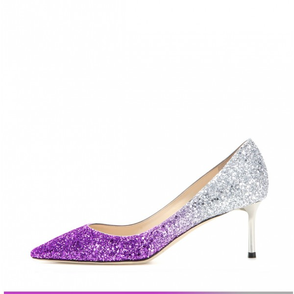 Purple and Silver Gradient Color Stiletto Heel Wedding Shoes image 2