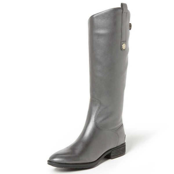 Grey Riding Boots Fashion Vegan Leather Low Heel Knee Boots image 1