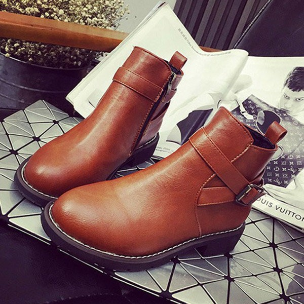 Women's Brown Round Toe Buckle Short Flats Vintage Boots image 1
