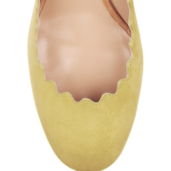 Yellow Suede Chunky Heels Round Toe Curve Pumps for Girls image 2