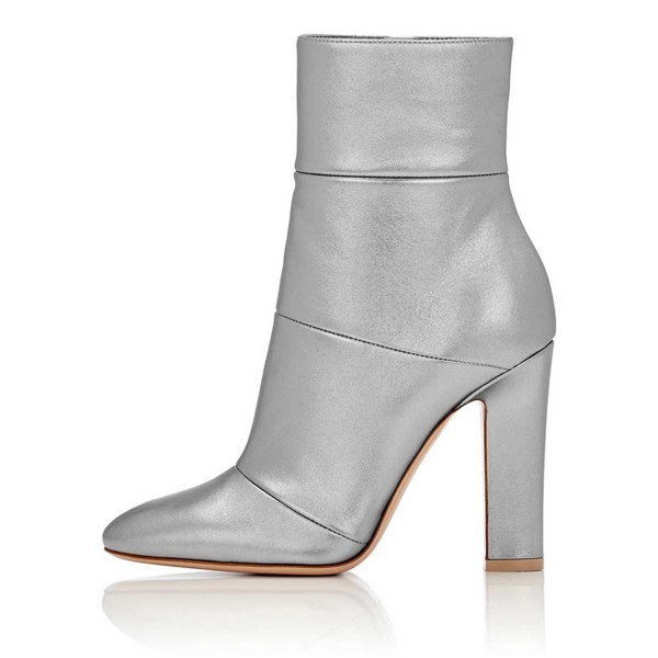 Women's Silver Chunky Heel Boots Patent Leather Pointy Toe Ankle Booties image 3