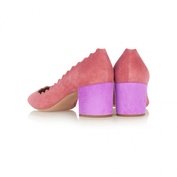 Pink Round Toe Chunky Heels Pumps Comfortable Shoes image 3