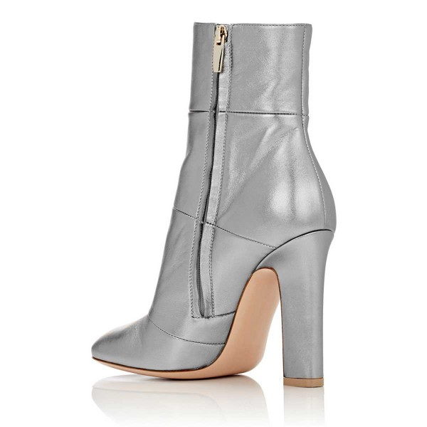 Women's Silver Chunky Heel Boots Patent Leather Pointy Toe Ankle Booties image 2