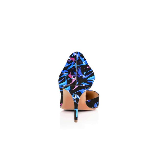 Women's Blue Dress Shoes Floral-Print Kitten Heels Pumps Shoes for ...