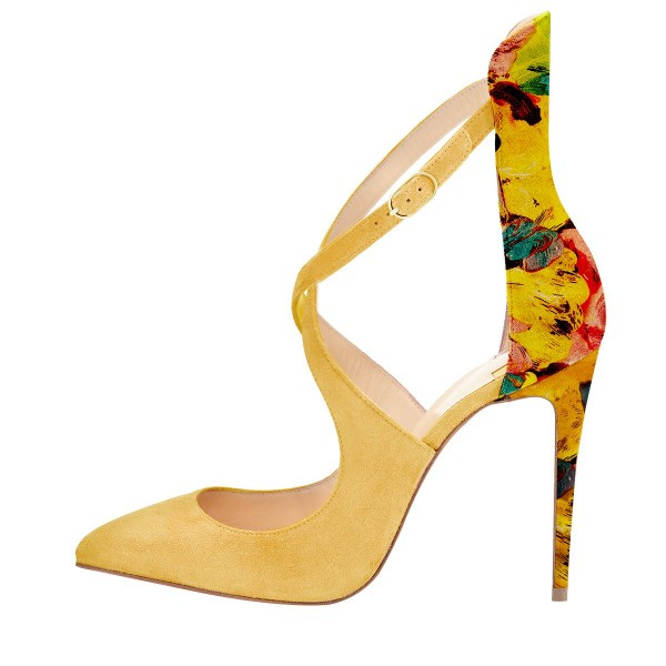 Yellow Suede Shoes Floral Print Stiletto Heel Pumps for Women image 3
