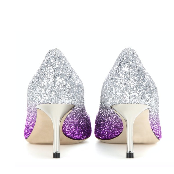 Women's Purple and Silver Gradient Color Stiletto Heel Pumps Bridal Heels image 3