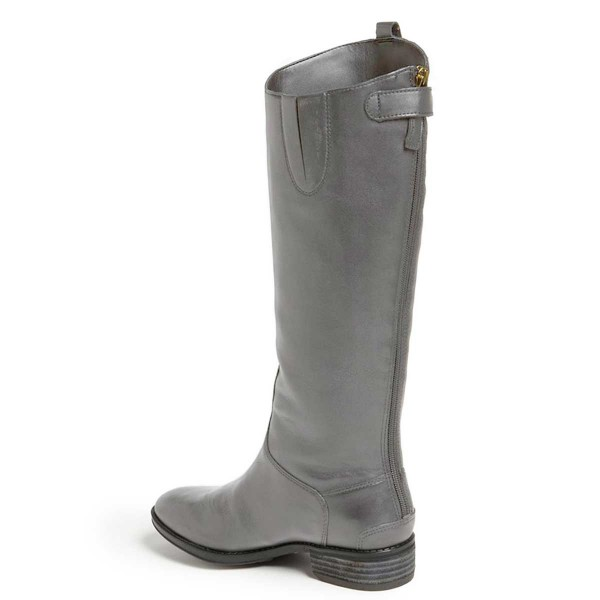 Grey Riding Boots Fashion Vegan Leather Low Heel Knee Boots image 2