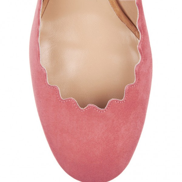 Pink Round Toe Chunky Heels Pumps Comfortable Shoes image 4