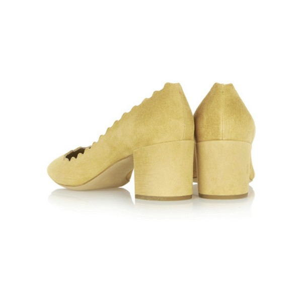 Yellow Suede Chunky Heels Round Toe Curve Pumps for Girls image 4