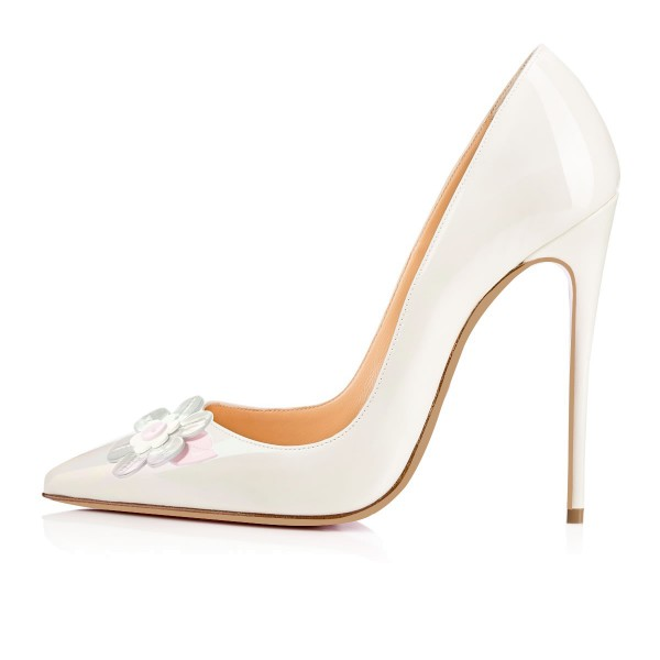 White Office Heels Patent Leather Flower Pointy Toe Stilettos Pumps image 4