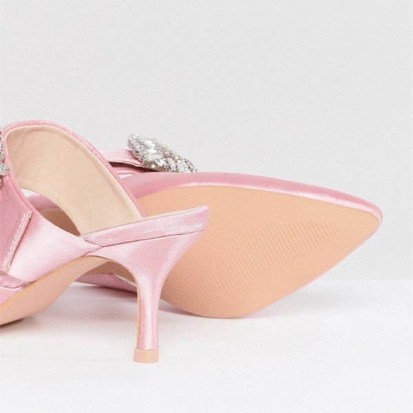 Pink Satin Kitten Heels Pointy Toe Mule with Rhinestone image 4