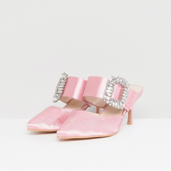 Pink Satin Kitten Heels Pointy Toe Mule with Rhinestone image 2