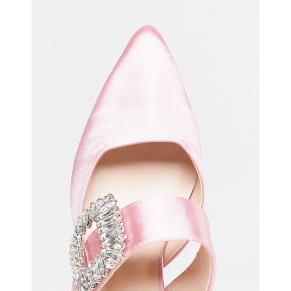 Pink Satin Kitten Heels Pointy Toe Mule with Rhinestone image 3