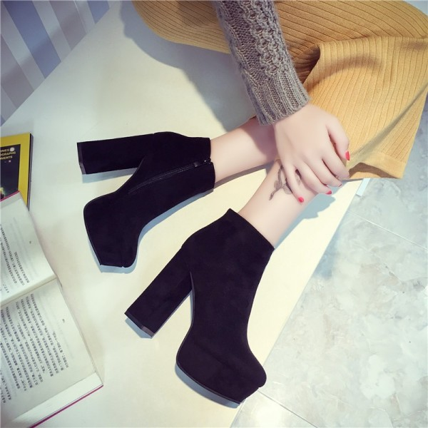 Fashion Black Vintage Boots Block Heel Suede Ankle Boots image 2